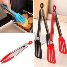 2 styles 9.7″ Food Grade Plastic Tongs Stainless Steel Handle Bread Tongs BBQ Clip noodles clip Grip For Cake Salad Kitchen Tool
