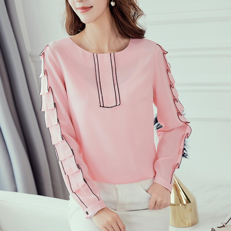 2b03c5bd798cc9 New 2018 Autumn Winter Shirts Fashion Female Long Sleeve White Pink Red Shirt  Casual Patchwork Blouse Chiffon Blouses Tops Plus-in Blouses & Shirts from  ...