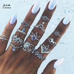 Tocona 13 pçs/set Bohemia Conjuntos de Coroa de Prata Antigo Flor Esculpida Anéis de Unicórnio Strass Knuckle Anéis para As Mulheres Jóias 4841
