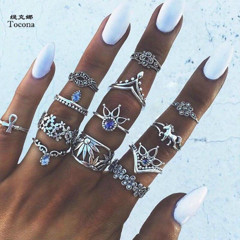 Tocona 13 unids/set Bohemia corona de plata antigua flor unicornio tallado anillos conjuntos de nudillos de diamantes de imitación para mujer joyería 4841
