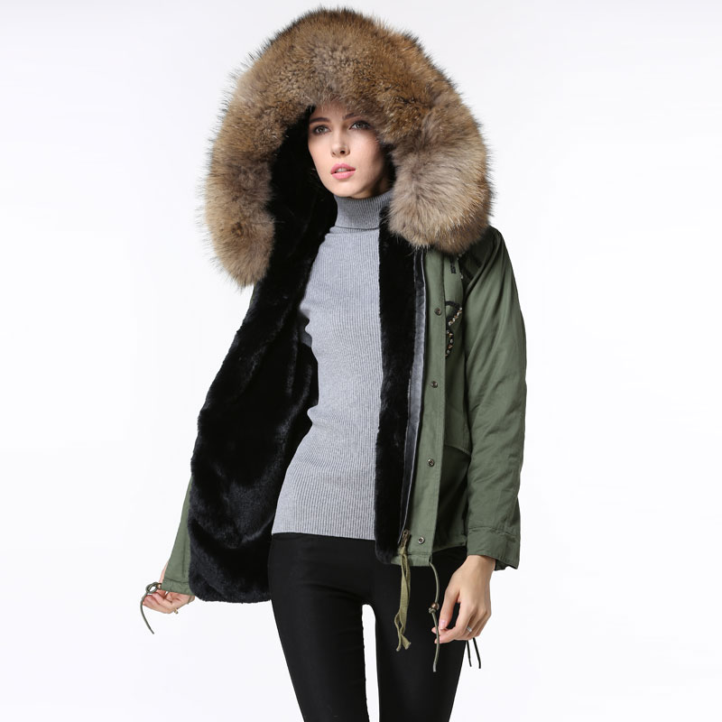 Winter Army Green Short Jacket Germany Beading Cool black fur ...