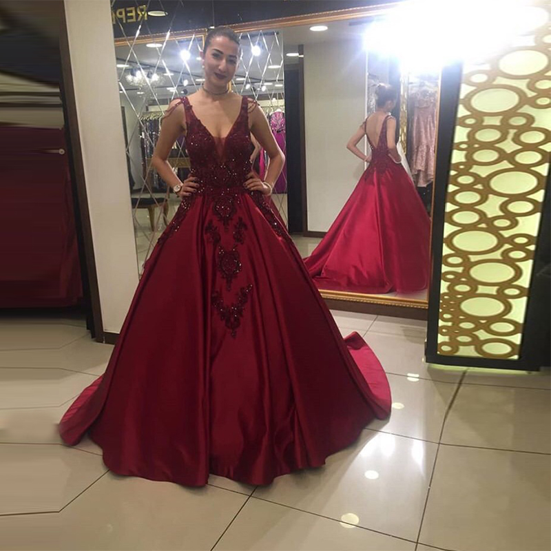 Gorgeous Burgundy   Prom     Dresses   Illusion V-neck Evening Gowns Appliques Beading Backless Chapel Train Women Formal Party   Dress