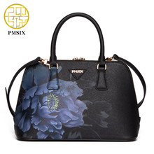 PMSIX designer brand famous in womens'bag Chinese style Printed flower Handbag Cow Leather Handbags Cross-body Black shoulderbag