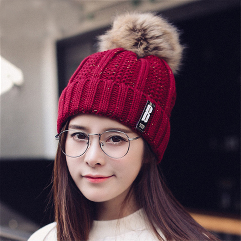 Women hat the Word Letter Brand New High-Quality women winter mink The Ball ski rabbit fur hat pom poms knitted hats made as