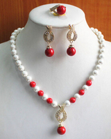 Miss Charm Jew 504 Fashion Women S 8mm Mixed Color Pearl Coral Necklace Earring Ring Jewelry