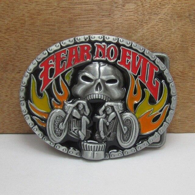 BuckleClub zinc alloy retro FEAR NO EVIL motor skull jeans gift cowboy belt buckle FP-02063 with 4cm width loop drop shipping