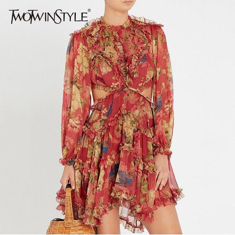 TWOTWINSTYLE Printed Backless Dress Women Ruffles Patchwork Lantern Sleeve High Waist Draped Mini Dresses Female Holiday