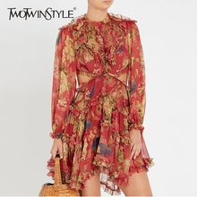 TWOTWINSTYLE Printed Backless Dress Women Ruffles Patchwork Lantern Sleeve High Waist Draped Mini Dresses Female Holiday Clothes(China)