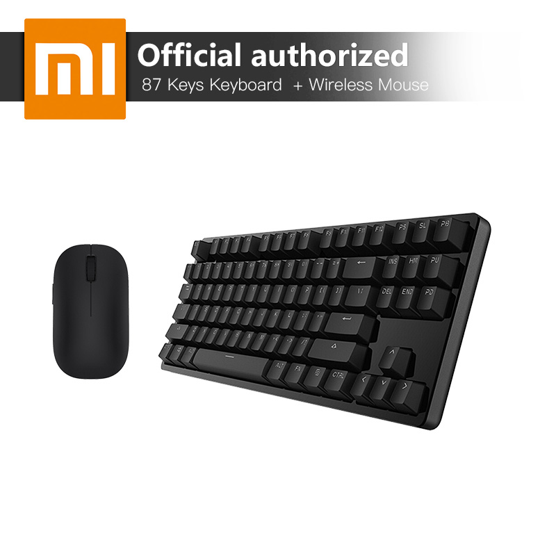 Xiaomi 87 Keys Blue Switches Professional Mechanical Gaming Keyboard LED Backlight USB Wired And Wireless Black Small Mouse rainbow gaming backlight keyboard 87 keys colorful mechanical keyboard with blue black switches desktop for pc laptop
