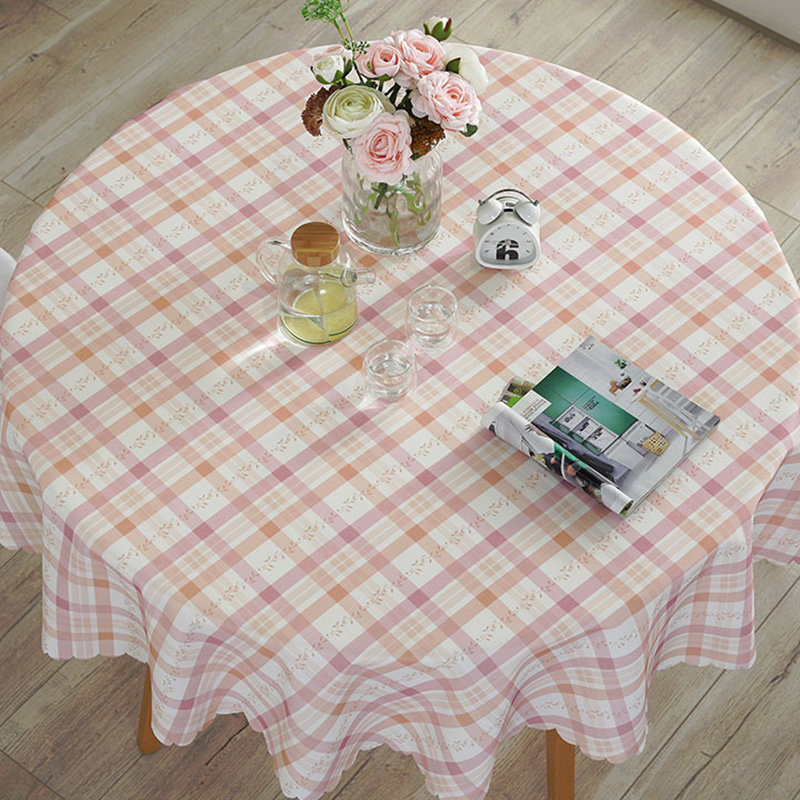 Round Rectangle Tablecloth Plaid Printed Waterproof Cotton Linen Table Cover for Living Room Hotel Restaurant Table Cloth