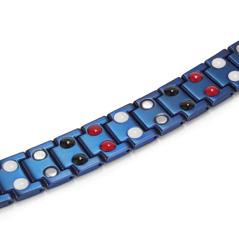 Rainso ゲルマニウムブレスレットマイナスイオン磁気要素チタンブルーメッキブレスレット男性アクセサリースポーツフォーメンバングル