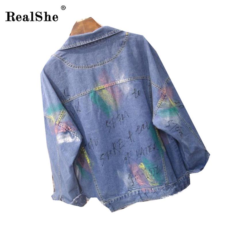 Realshe 2017 primavera chaqueta de mezclilla femenina casual botones de color de