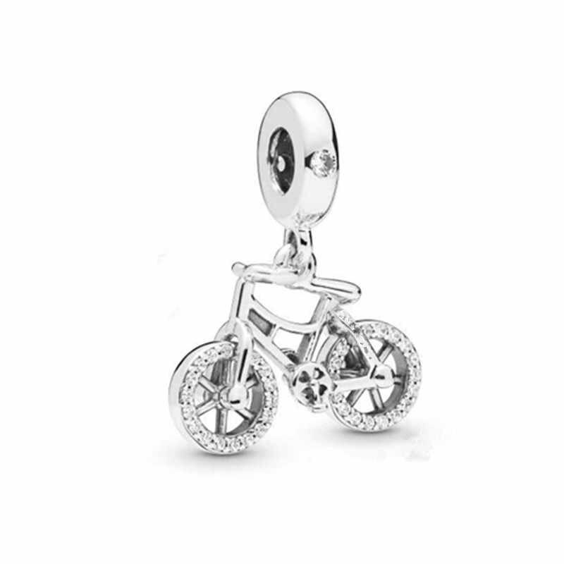 2019 новый подлинный 925 стерлингового серебра Блестящий велосипед висячий кулон из бисера Подходит Европейский оригинальный браслет Ювелирное Украшение