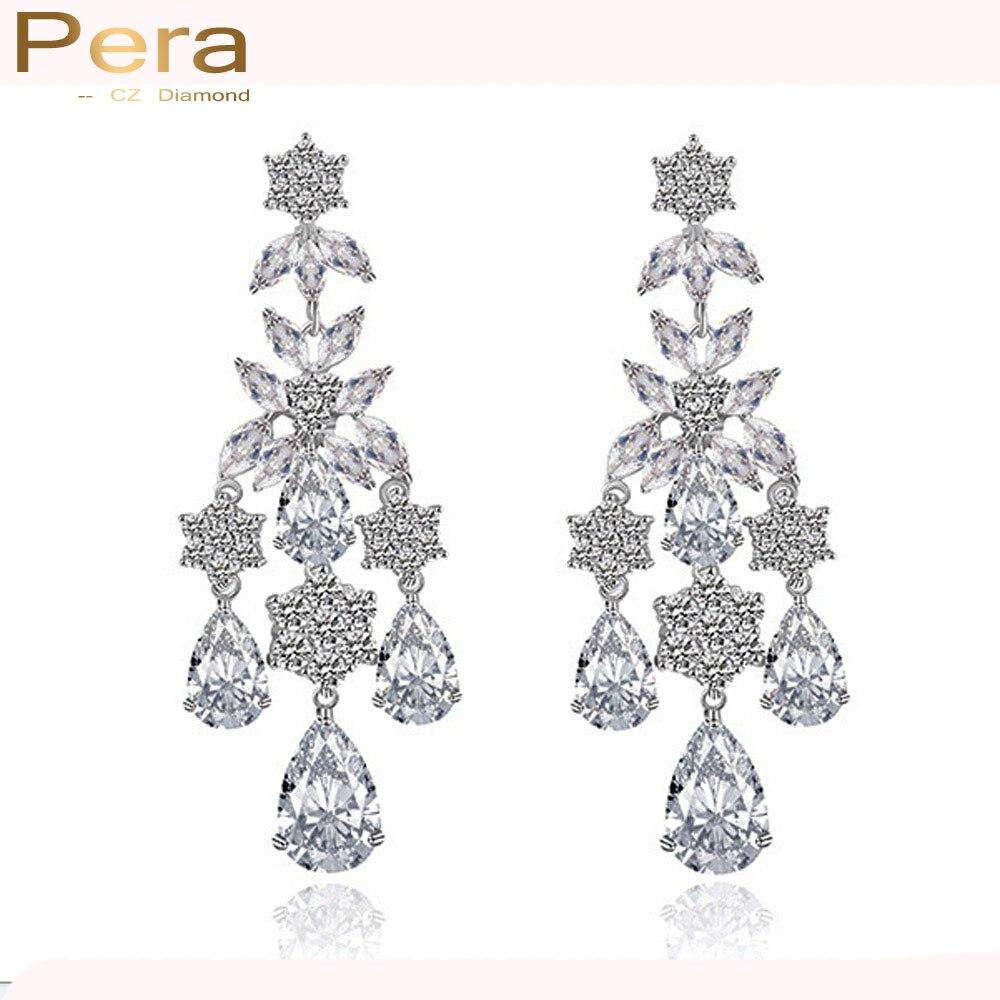 Pera Luxury Women Party Costume Jewelry Full Sparkling Cubic Zircon Stone Long Chandelier Drop Earrings For Gift E085 In From
