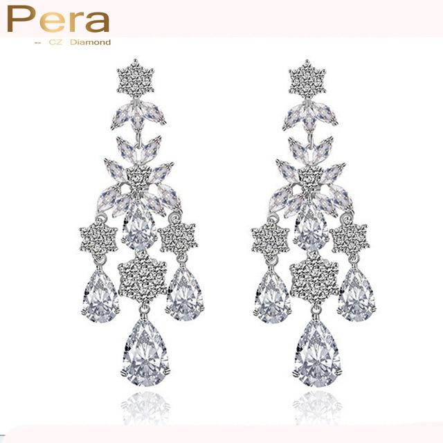 Pera Luxury Women Party Costume Jewelry Full Sparkling Cubic Zircon Stone Long Chandelier Drop Earrings