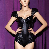 New style black PU leather cap sleeve teddy jumpsuit high quality underwire cups padded bra back zipper Sexy Bodysuit