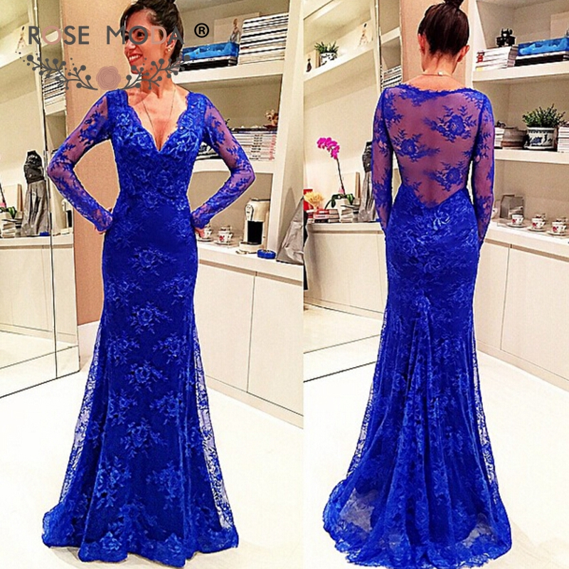 Rose Moda Long Sleeves Royal Blue Lace Mermaid   Prom     Dress   Lace Back Formal Party   Dress