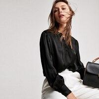 100% шелковая блузка Для женщин рубашка Винтаж дизайн с круглым вырезом одежда с длинным рукавом 3 цвета полупрозрачной ткани офис Топ Новая м