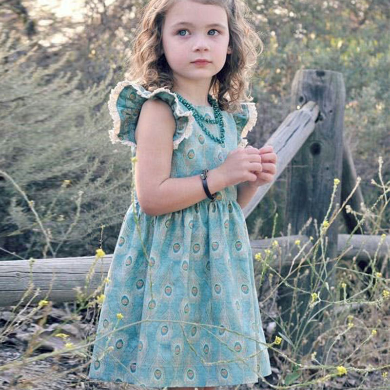 цена на GUMPRUN children clothes casual Summer Beach Floral Print Party Dresses For Girls fashion Cute Baby Kids Girl dress Vintage