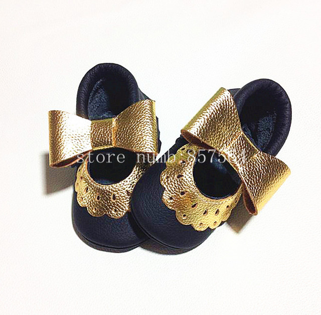 New mary jane flower Genuine Cow Leather Baby Moccasins bow Soft Baby Shoes Newborn girls first walker Anti-slip Infant Shoes