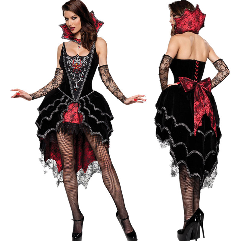 Adult Queen Of The Vampires costume <font><b>halloween</b></font> costumes for <font><b>women</b></font> <font><b>sexy</b></font> cosplay black gothic lolita dress fantasy image