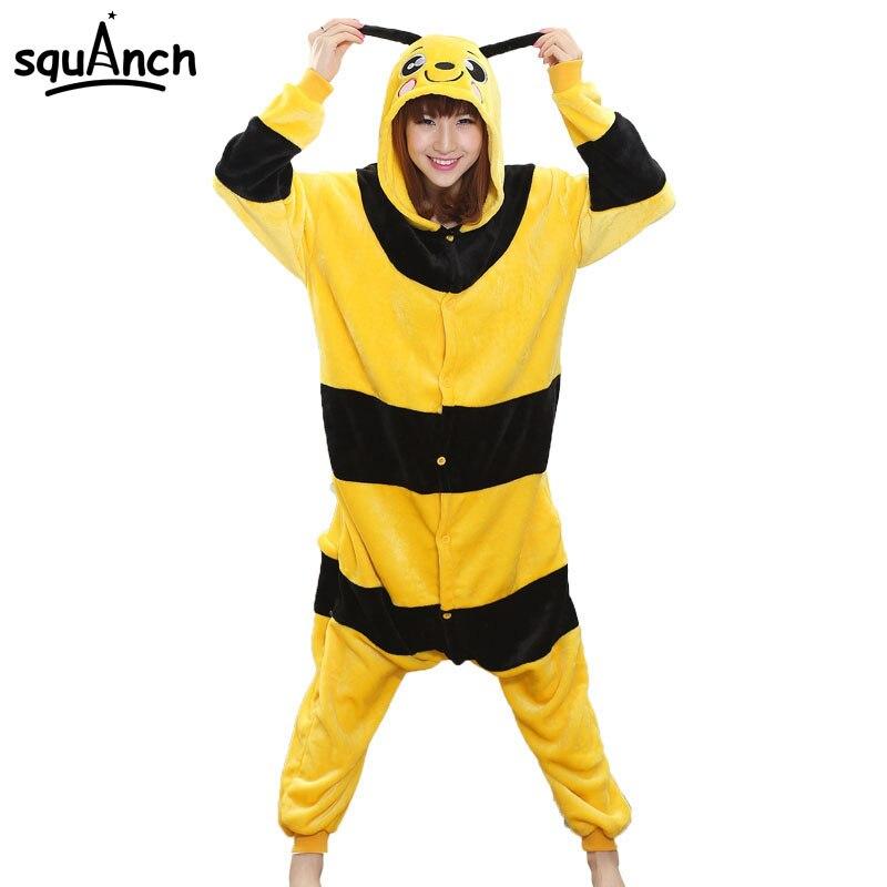 Yellow Black Stripe Bee Onesie Animal Kigurumi Soft Warm Flannel Pajama Adult Couple Men Women Funny Suit Cartoon Honeybee Fancy