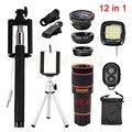 12en1 kits de lentes de La Cámara 12x de Zoom Teleobjetivo Trípode Llenar luz 3in1 fisheye gran angular macro para iphone 7 xiaomi