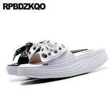 754ca780241a7 Shoes Kawaii Embellished Slides Platform White High Quality Women Sandals  2018 Summer Flat Bowtie Cute Bow Flatform Slippers