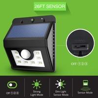 8 LEDs Solar Lights Waterproof Solar LED Lamps PIR Motion Sensor Solar Lamp with 3 Lighting Modes for Garden/ Path/ Home Wall