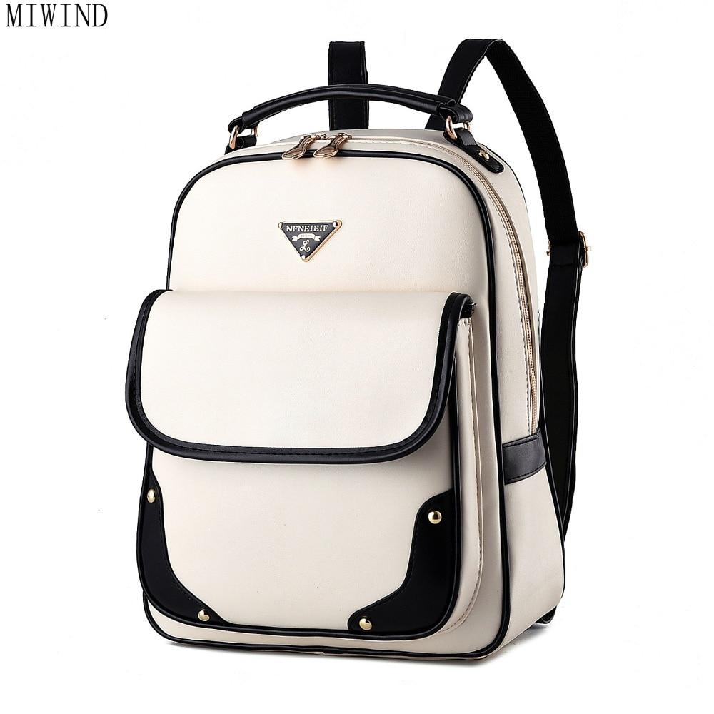 Femmes sac à dos PU cuir mode noir marque sac à dos sac d'école pour adolescents filles sac à dos TTY849