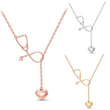 Stethoscope Heart Stethoscope Pendant Necklace Nurse Medical Silver/Gold/Rose Gold Color Gift Fashion Jewelry