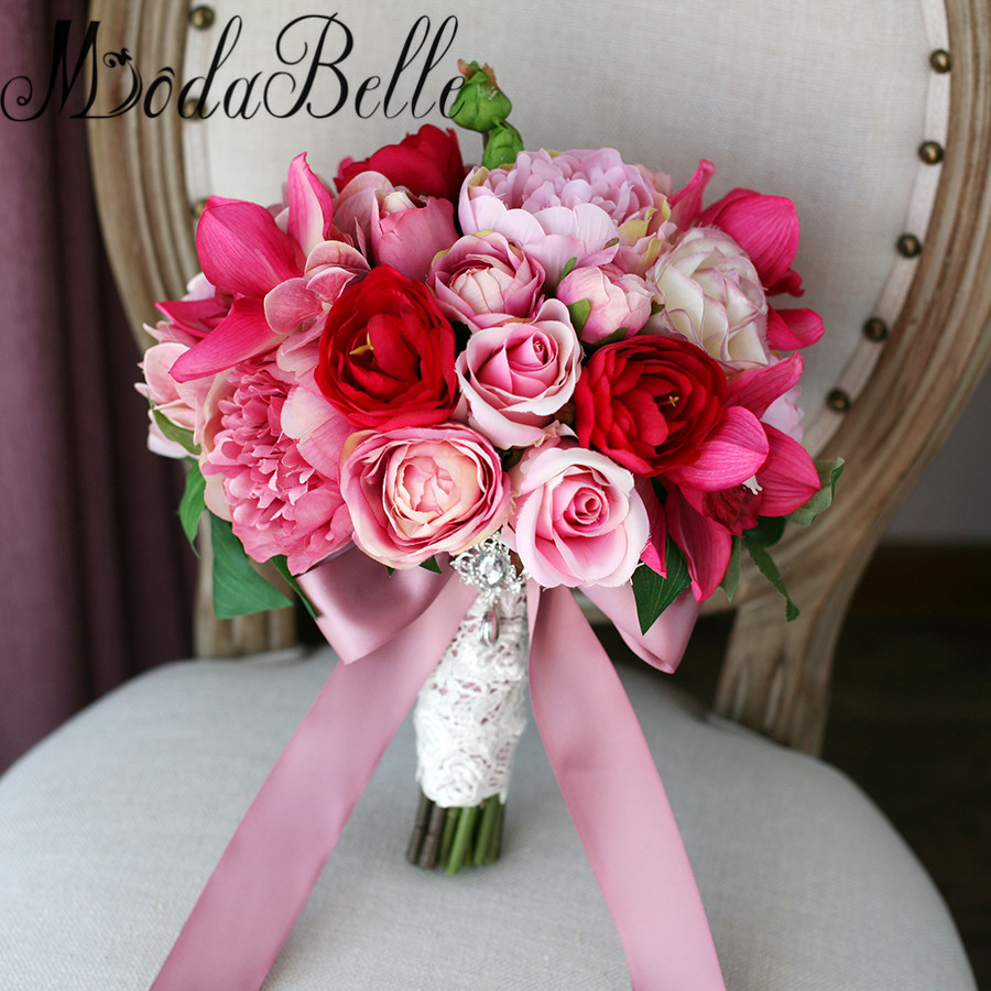 Modabelle 2017 jewellery wedding bouquets with ribbon for Bouquet de fleurs 2017