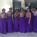 Roxo Frisada Corpete Chiffon Da Dama de Honra Vestido Até O Chão Uma Linha de Vestido de Festa de Casamento Vestido De Festa