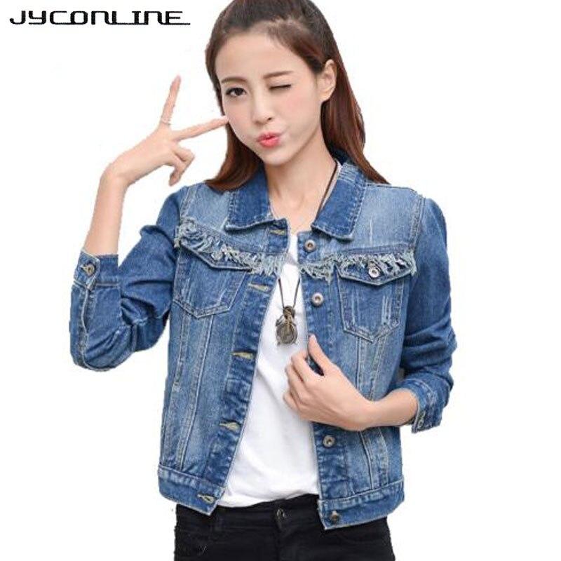 JYConline Streetwear Džínová bunda pro ženy s dlouhým rukávem Krátké džíny Bunda dámská Džínová bunda Ztlumte límec Dámské bundy