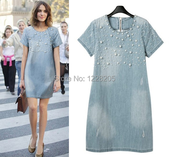 Beaded Jean Pregnant Dress women Denim Mini Dress cowboy Blue ...