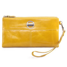 Long Design Card Wallet For Women Genuine Leather Female Coin Purse Double Zipper hasp solid Women Wallets Fashion Clutch Bags