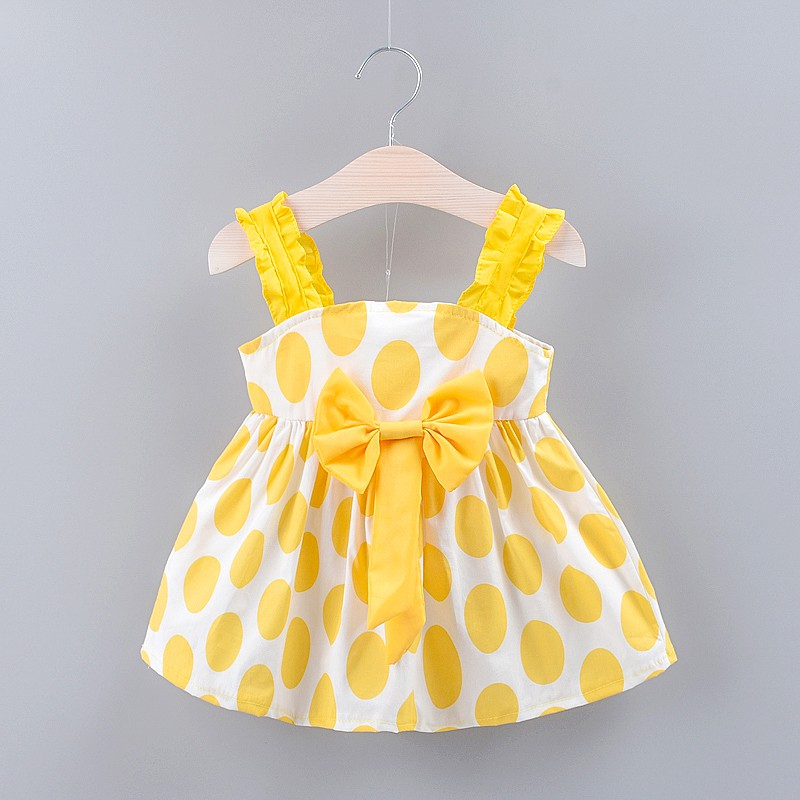 Summer Baby Girls Strap Dot Pattern Casual Cotton Sleeveless Bow Dress Kids Toddler Sweet Fashion Princess Sundress in Dresses from Mother Kids