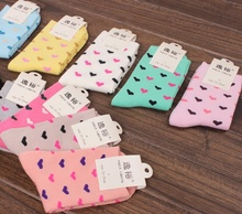 10pair/pack Fashion Heart – shaped Pattern In The Tube Socks Cotton Elasticity Socks Soft Breathable Hosiery Wholesale