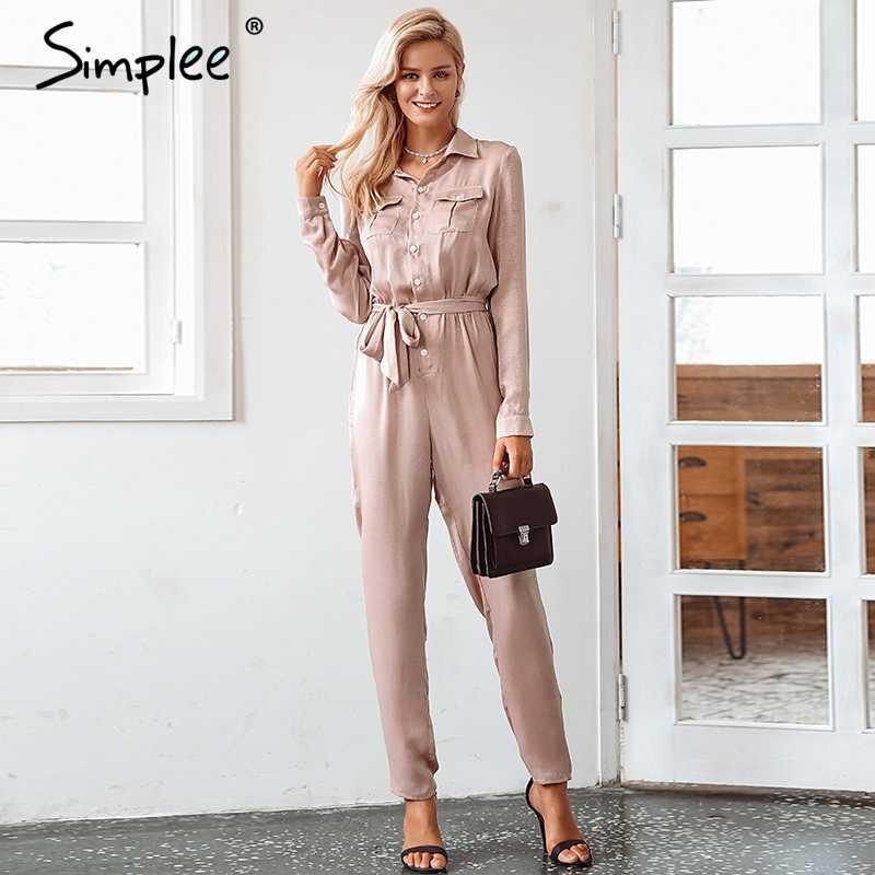 22b2ccb0d8 Simplee Elegant sashes buttons satin long sleeve women jumpsuit Summer  pockets elastic waist romper Office ladies