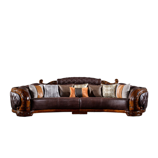 sofas futon divano Genuine Leather sofa set living room furniture diseno love seat design Tea Table muebles de sala cajonera new
