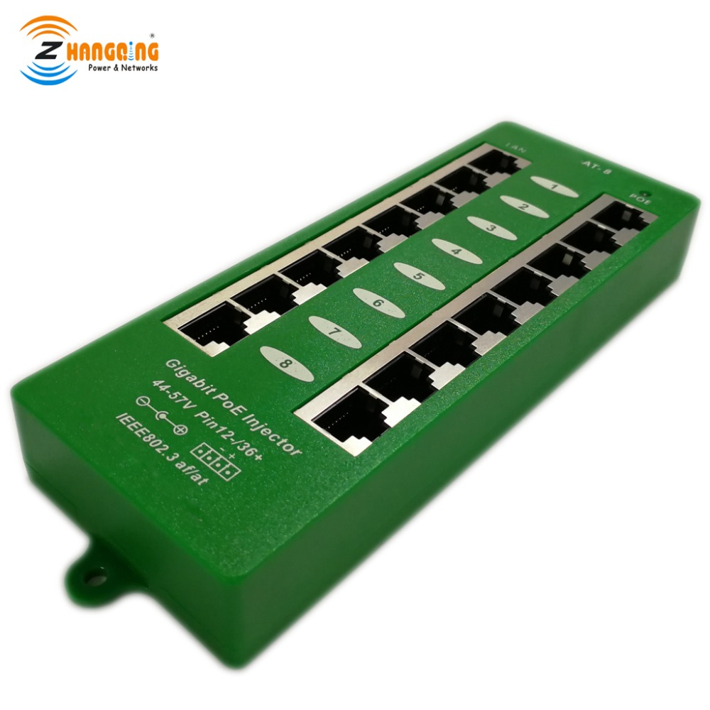 Security 802 3at Standard PoE Injector 8port Gigabit 1000Mbps Active PoE Patch Panel For WiFi Access