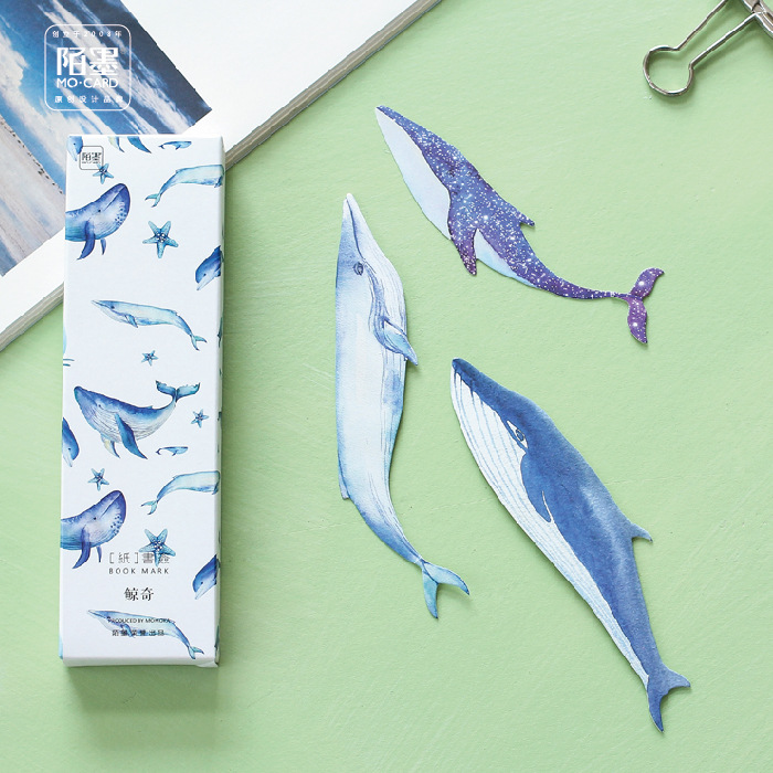 30 Pcs/box Whale Fish Paper Bookmark Stationery Bookmarks Book Holder Message Card School Supplies Papelaria