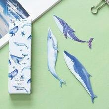 30 pçs/caixa baleia peixe papel bookmark papelaria bookmarks titular do livro cartão de mensagem material escolar papelaria