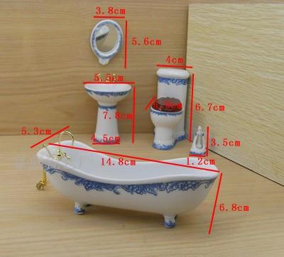 HOST SELL! 5Pcs Set Dollhouse Miniature Ceramic Bathroom Supplies Suites 1:12 Scale Blue