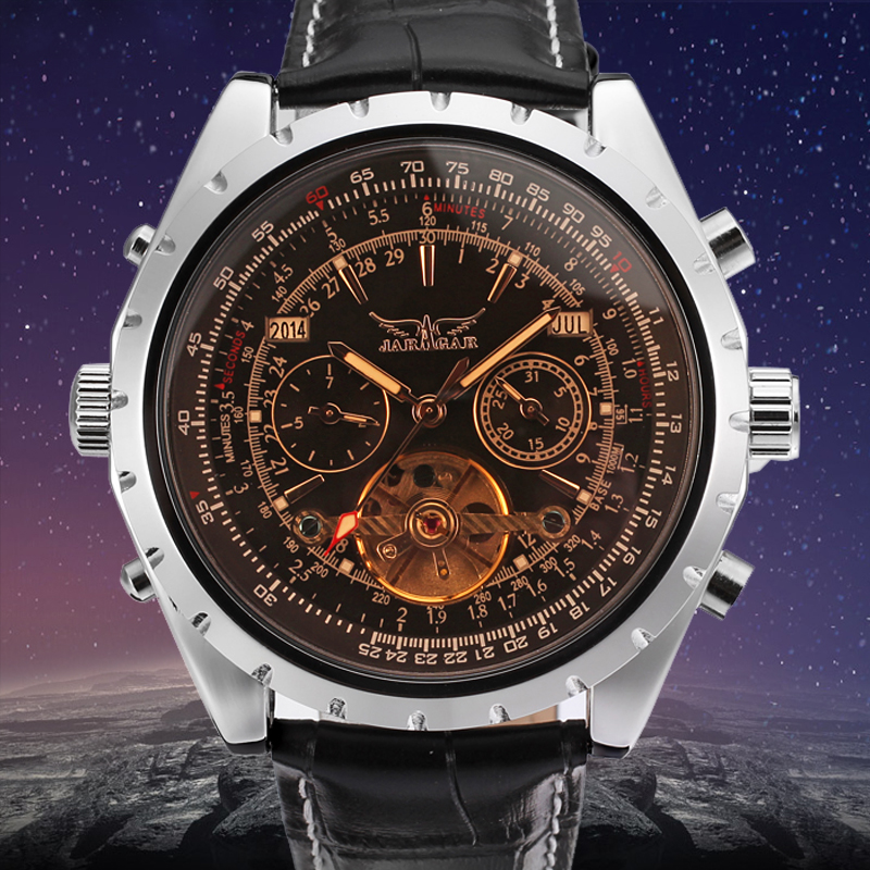 Jargar Automatic Men Tourbillon Silver Metal Watch with Black Leather цена и фото
