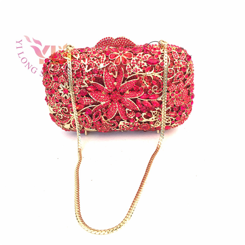 ФОТО YILONGSHENG Women Sexy Hot Red Clutch Bags Decortated with High Grade Crystals and Diamonds