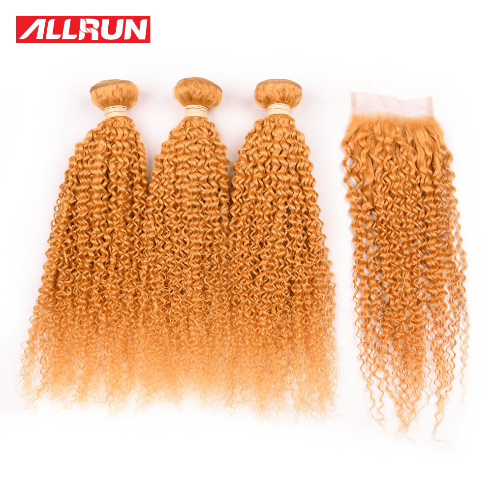 Allrun Pre-colored Kinky Curly Brazilian Hair Weave Bundles 3Pcs Dark Orange Color Non Remy Human Hair Bundles With Closure