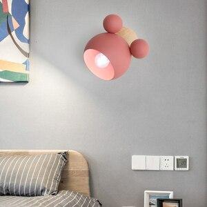 Image 3 - נורדי עץ קיר מנורות חמוד coloful קיר פמוטים מטבח מסעדה מקרון המיטה דקורטיבית מנורת E27