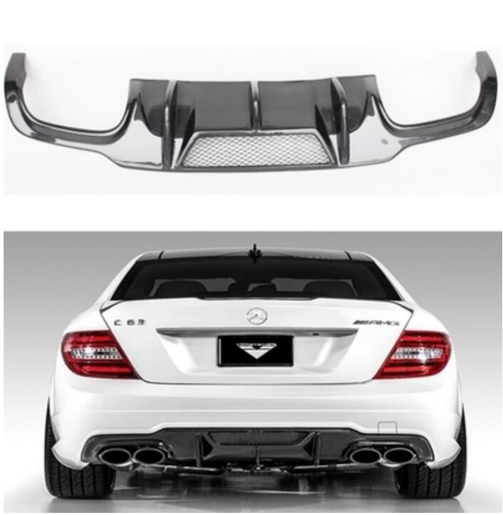 Carbon fiber <font><b>Rear</b></font> Bumper Lip Spoiler <font><b>Diffuser</b></font> Cover For Benz W204 C-Class C63 C180 C200 C260 <font><b>C300</b></font> 2012 2013 2014 BY EMS image