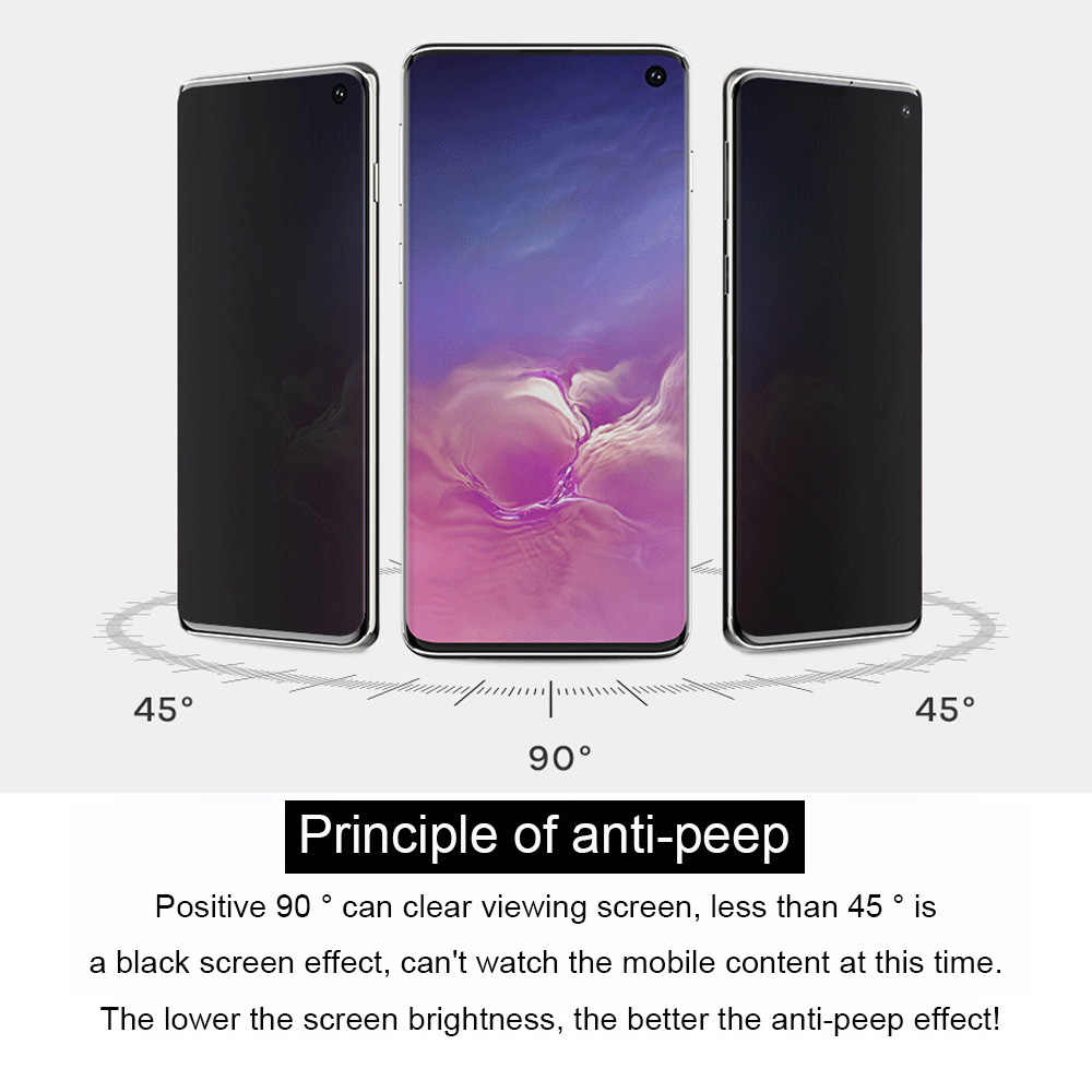 9D كامل غطاء الخصوصية لسامسونج غالاكسي S10e مكافحة وهج الزجاج المقسى لسامسونج S10 لايت مكافحة يبصر واقي للشاشة فيلم